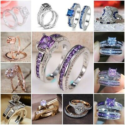 Women 925 Silver Pink Sapphire/White Topaz Stackable Rings Wedding Jewelry 5-10