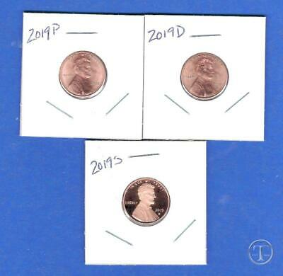 2019 P D and S Proof Lincoln Cent Penny Set-PD from rolls plus S Gem Proof