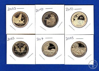 2013 S THROUGH 2018 S Proof Sacagawea Native American Dollars-Six Coins