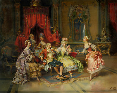 Handmade Oil Painting repro  Cesare-Auguste Detti Louis XV in the Throne Room