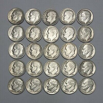$2.50 Face Value Roosevelt Dimes 90% Silver (Lot Of 25 Coins)