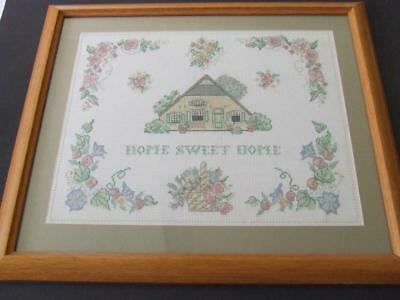 Beautiful Hand Embroidered Panel Framed, Mounted Under Glass - Home Sweet Home