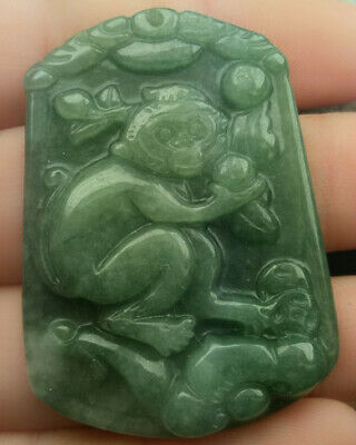 Certified Oily Green Natural A Jade Jadeite Hand-Carved Monkey Ruyi Coin Pendant