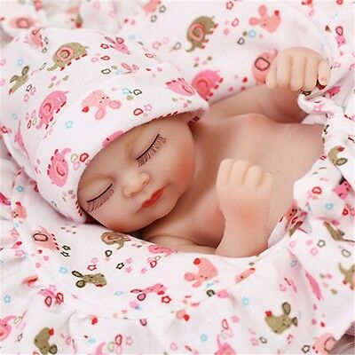 "11"" Lifelike Reborn Sleeping Girl Doll Full Silicone Vinyl Mini Baby Handmade us"