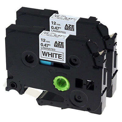 2 x Compatible for Brother TZe-231 Black-On-White Tape TZ231 PT-1010/P700/P900W