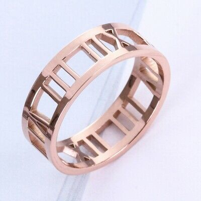 Men Women Roman Numerals Rose Gold Couple Titanium Stainless Steel Hollow Ring