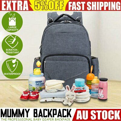 Multifunctional Baby Nappy Backpack Waterproof Mummy Diaper Bag with USB Port