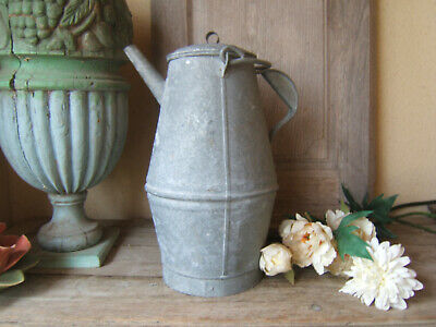 very RARE HUGE ANTIQUE FRENCH ZINC GALVANIZED CONICAL WATERING CAN patina Ca1900
