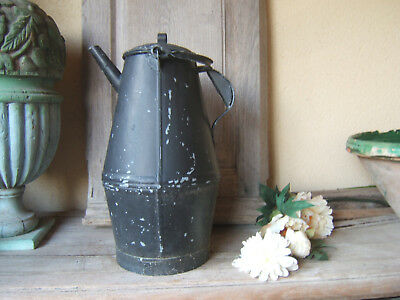 very RARE HUGE ANTIQUE FRENCH. ZINC GALVANIZED CONICAL black WATERING CAN Ca1900