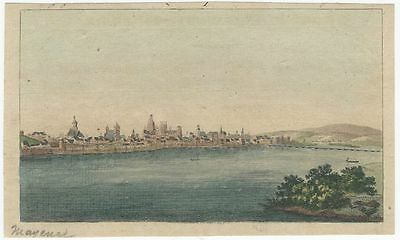 Early 19th Century Hand-colored Copper Plate Engraving - Mainz Riverfront