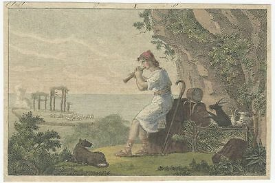 Early 19th Century Hand-colored Copper Plate Engraving - a Mythological Scene