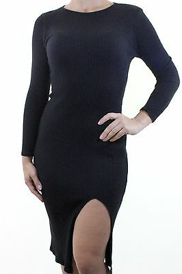 e31bca6b NEW LOOK black ribbed plain stretch jersey leg thigh split dress size 10  euro 38