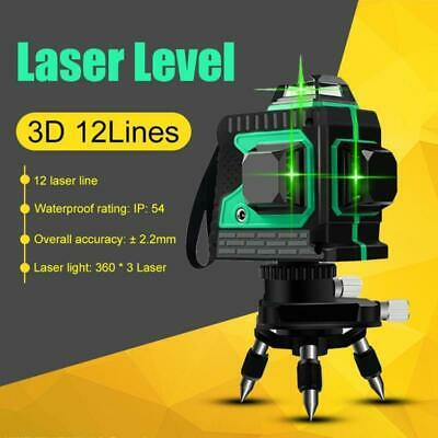 3D 12 Lignes Niveau Laser Kit Ligne Laser Vertes 360 ° Cross Level Self Lineing