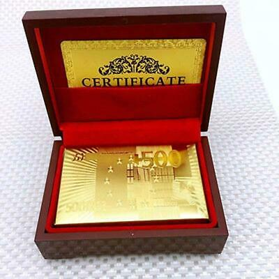 Luxury Fashion 24K Gold Foil Poker Playing Cards Deck Plated Card +Nice Wood Box