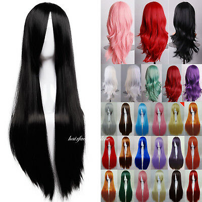 Uk Stock Women Long Hair Full Natural Curly Wavy Straight Synthetic Hair Wigs ##