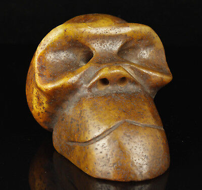 China Collectible Handwork Carving Jade Ape Head  Statue Desktop Decoration