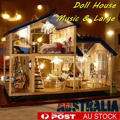 Wooden Doll House Miniature DIY Children Toy Gift Furniture LED Light Box Kit AU
