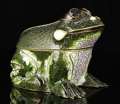 Collectible Handwork Cloisonne Frog Statue Jewelry Boxes Desktop Decoration