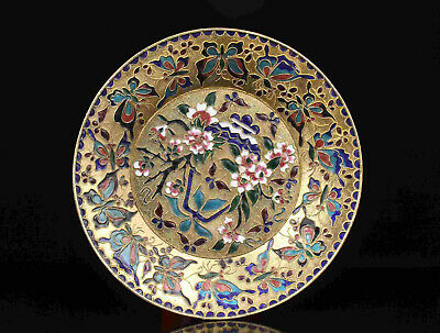 China Old Collectible Hand- Painting Flowers Butterfly Cloisonne Plate