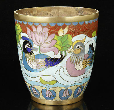 China Handcraft Old Collect  Red Copper Cloisonne Mandarin Duck Cup
