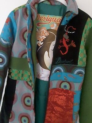 DESIGUAL LANG MANTEL A linie Patchwork Stoffjacke 60%wolle
