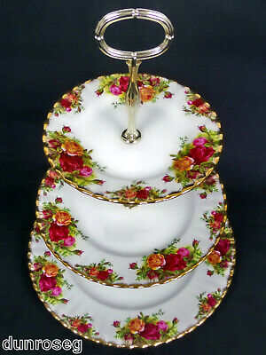 Old Country Roses 3-Tier Cake Stand, New Centre Pole, 1962-73, Royal Albert
