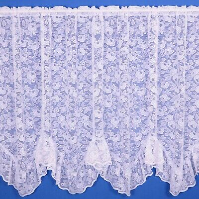 Rose Flounce Net Curtain - Finished In White - Various Widths And Drops!