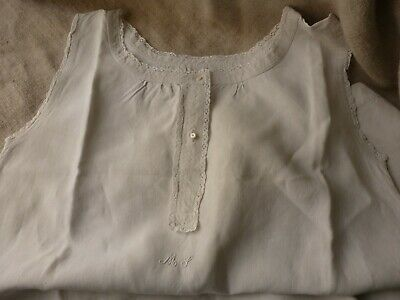 Antique French Linen Chemise Hand Embroidered Monogram Ms