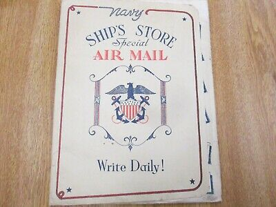 Unused USN WW2 1944 dated Letter Printed Stationary and Printed Cover Sleeve