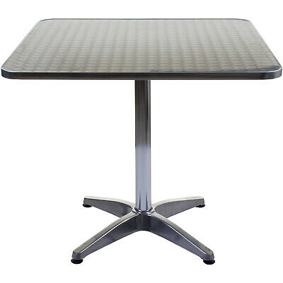 80cm Square Table Large Chrome Bistro Cafe Restaurant Aluminium Indoor use Only