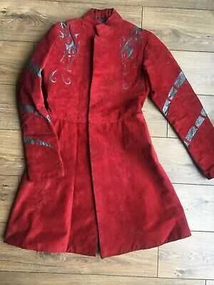 Custom Made Cosplay Steampunk Tooled Red Suede Kings Jacket S Fits 34 36 Chest