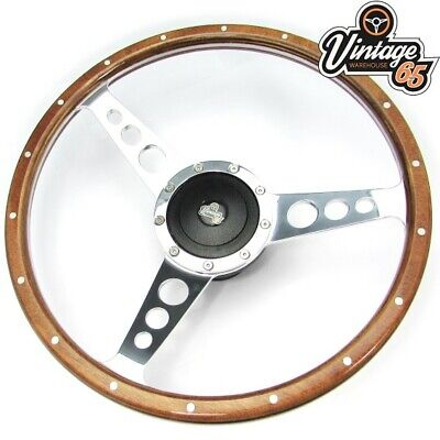 "Land Rover 15"" Classic Wood Rim Steering Wheel & Fitting Boss Kit Badged Horn"