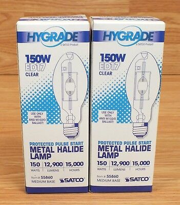 Lot of 2 Hygrade Satco ED17 (S5860) 150W Medium Base Metal Halide Lamp Bulb