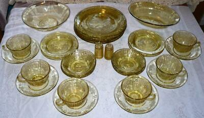 Federal Glass Dinner Set 34pc SHARON/CABBAGE ROSE Yellow-Amber plates bowls cups
