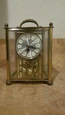Antique Brass And Glass Anniversary Carriage Clock Germany