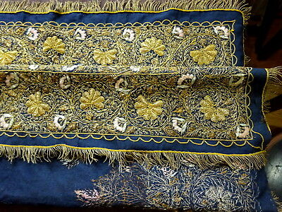 19th Century Ottoman Empire Gold Thread Embroidery large Wool Panel