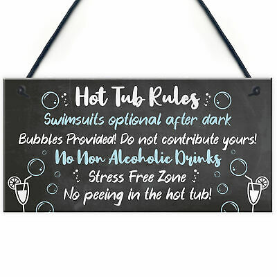 HOT TUB RULES Sign Hot Tub Signs And Plaques Shed Sign Summer House Plaque
