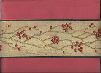 Wallpaper Border Rustic Berries On Branches Primitive Country New Arrival Craft