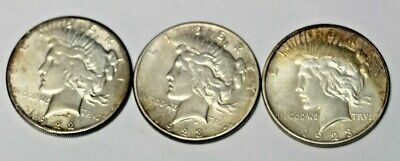 Lot Of 3 United States Silver $1 Peace Dollars 1922S, 1923S  1923D