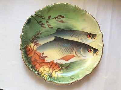 Authentic Antique French Limoges Hand Painted Signed Fish Wall Platter, L324