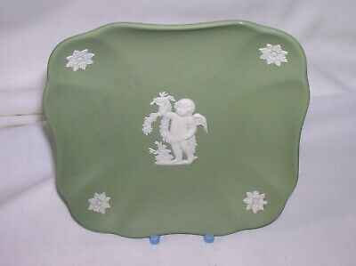 Lovely Wedgwood green jasper ware 4 inch square pin dish