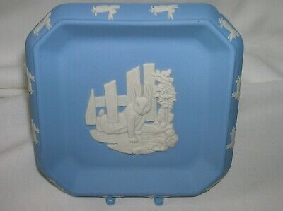 Lovely Wedgwood blue jasper ware 4 inch square pin dish - Peter Rabbit