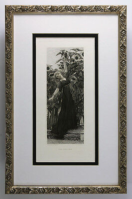 "Extraordinary 1800s LAWRENCE ALMA-TADEMA Etching ""The Garden dance"" Framed COA"