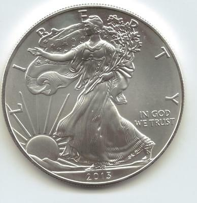 2013  Uncirculated American Silver Eagle  1-Troy oz. .999 Silver. Eagle is Whit9