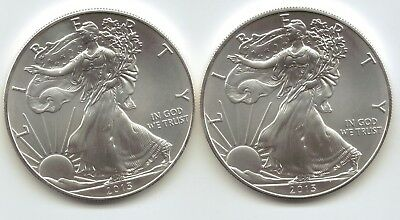 2-2013 Uncirculated American Silver Eagle  1-Troy oz. .999 Silver.