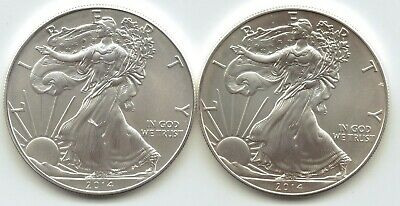 2-2014 Uncirculated American Silver Eagle  1-Troy oz. .999 Silver.