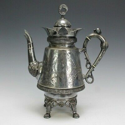 Antique Derby Ornate Silverplate Victorian Aesthetic Movement Tea Coffee Pot SRM