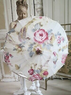 French Antique 1920s Parasol ART DECO Frankreich Schirm ROSEN Vögel SHABBY
