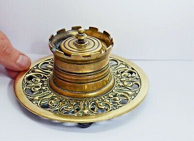 Superb Antique Weighty Solid Brass 'Castle' Inkwell with Ornate Surround. Metal