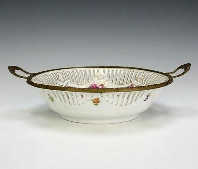 Schumann Bavaria Bronze Mount Reticulated Gallery Floral Porcelain Nut Bowl SRM